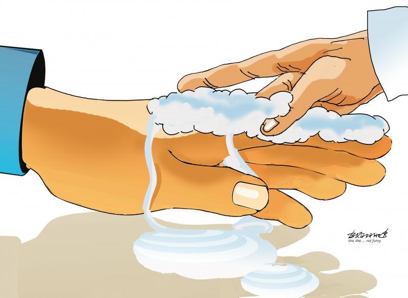 Hand washes his hand. October 15 - World Handwashing Day