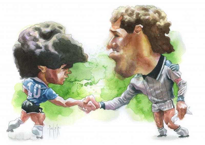 Diego Maradona & Peter Shilton in Mexico 1986