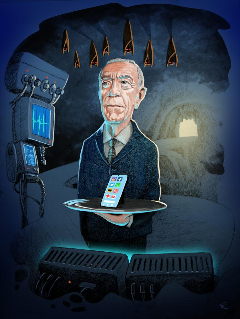 Alfred (from the series Gotham characters) - Marcelo Rebelo de Sousa, presidential charm with a touch of stewardship