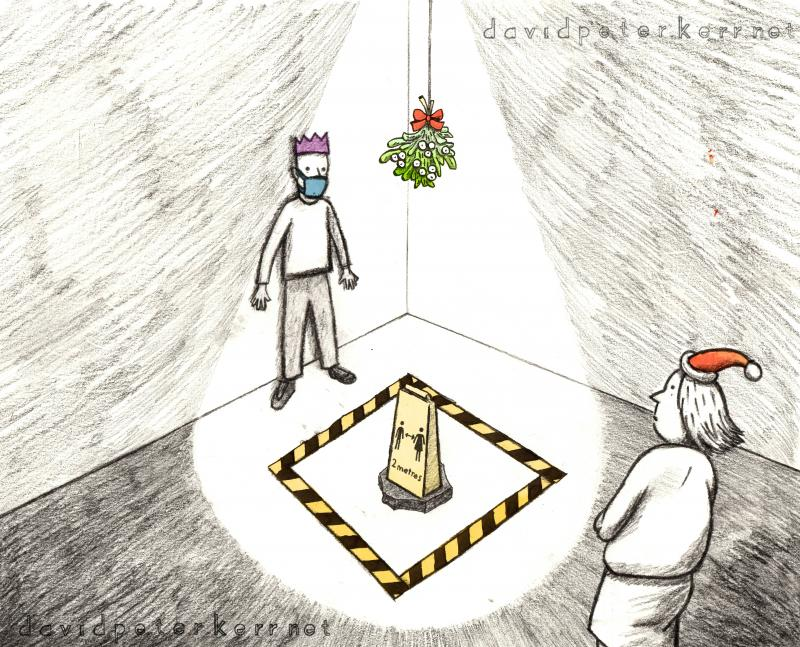 Cartoon depicting social distancing warning under the mistletoe