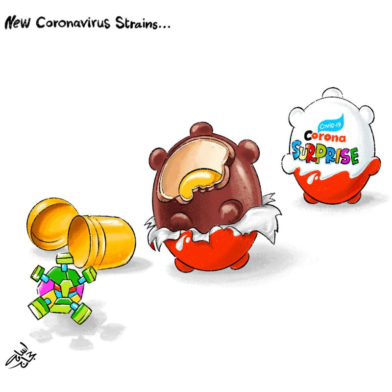 Cartoon about coronavirus mutations
