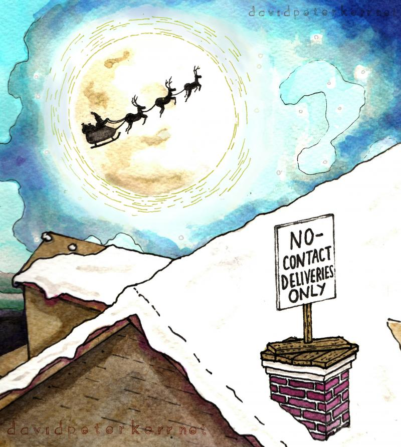 a cartoon depicting restrictions on Santa's Christmas deliveries this year