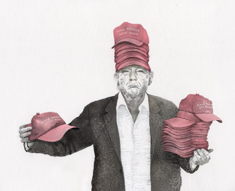 Donald Trump selling MAGA hats