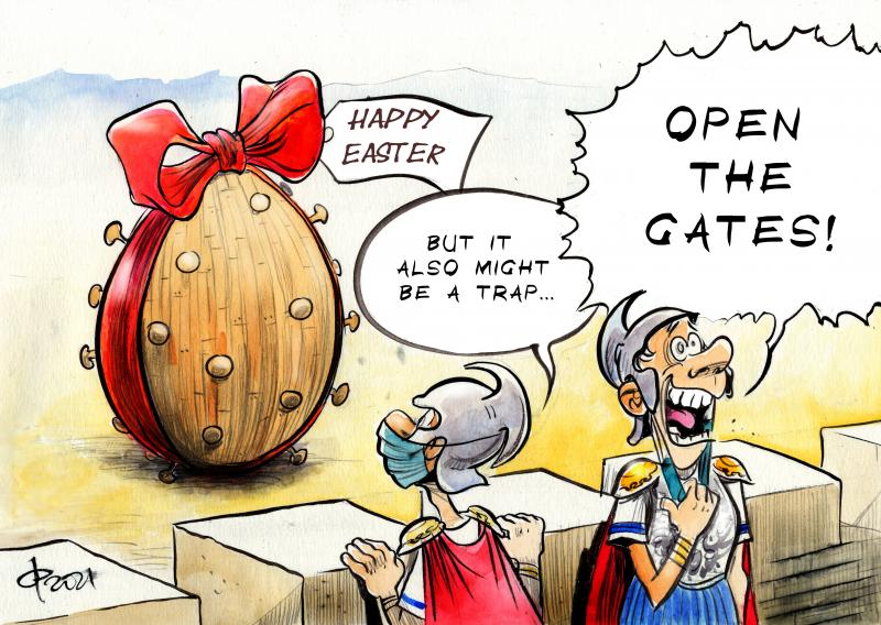 Cartoon about corona and Easter