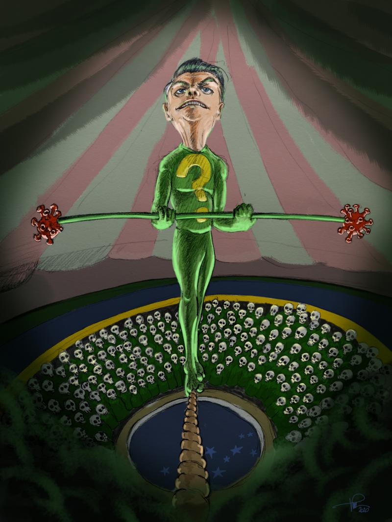 The Riddler (from the series Gotham characters) - Jair Bolsonaro playing with Covid19 in Brazil
