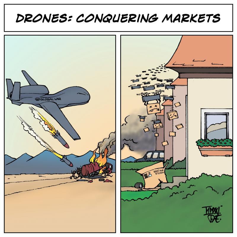 Drones Drohnen Kampfdrohnen Global Hawk US Airstrikes Bundeswehr Afghanistan  Espionage Spionage UAV unmanned war Amazon service drones capitalism Kapitalismus MIlitarismus Technologie cartoon Timo Essner