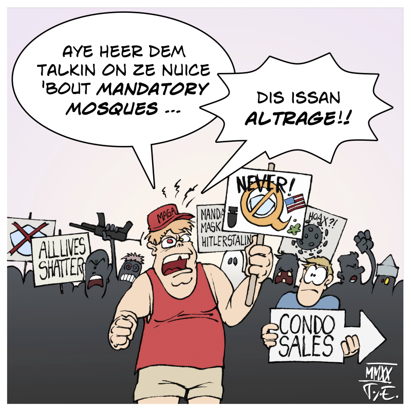 Cartoon by Timo Essner on rednecks and alt-right nazis, COVID 19 and mandatory masks, outrage culture and simple minds