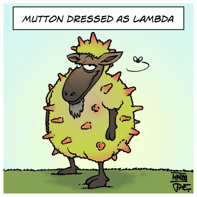 Corona Covid Lambda Lamb play on words mutton sheep C.37 SARS-CoV-2 virus mutation Cartoon Timo Essner