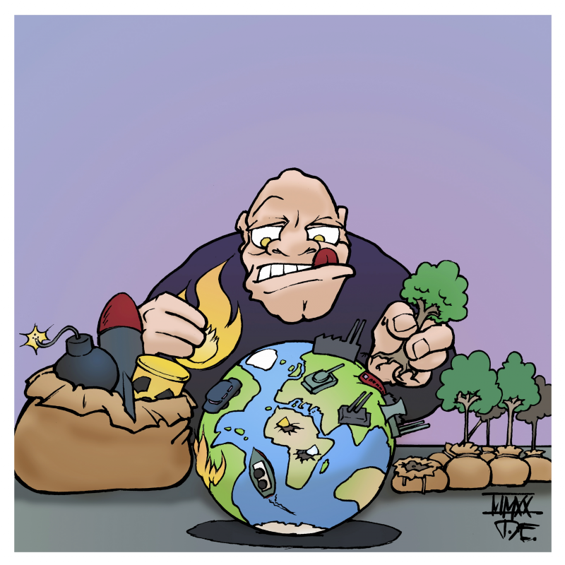 humanity humankind humans planet earth nature climate interventions Cartoon Timo Essner