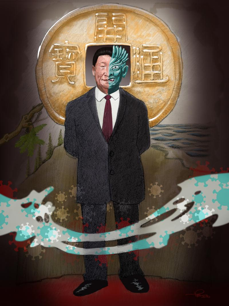 Two Face (from the series Gotham characters) - Xi Jinping, two sides of a coin