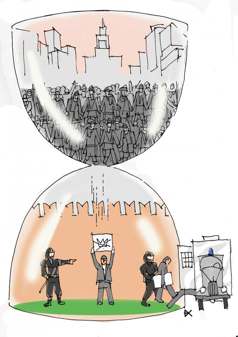 As in an hourglass people come out of the crowd one by one to protest and the police take them to the car