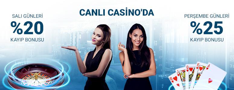 Canlı Casino' da %25 ve %20 Cashback Günleri