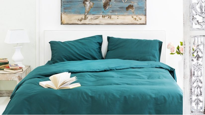 postele 200 x 220 - zelené povlečení