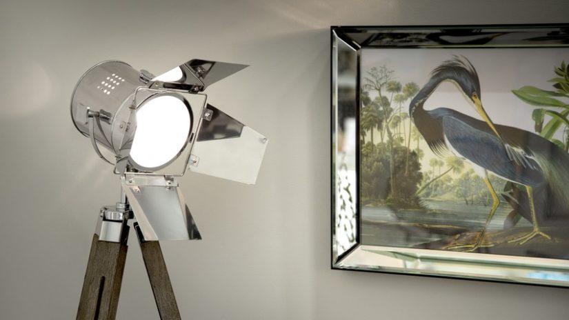stříbrné stojací lampy