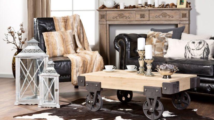 styly - obývací pokoj v industriálním stylu