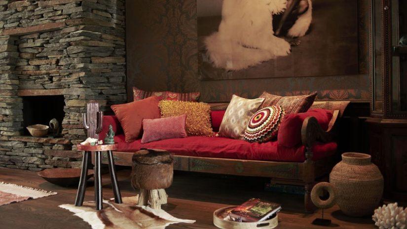 styly - obývací pokoj v boho stylu