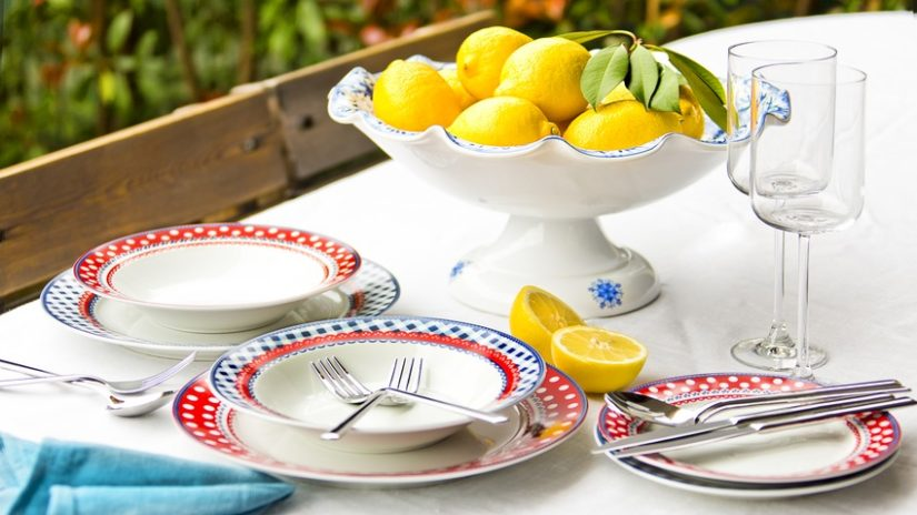 rustikální sada talířů