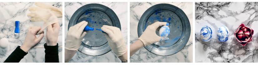 malování kraslic lakem na nehty