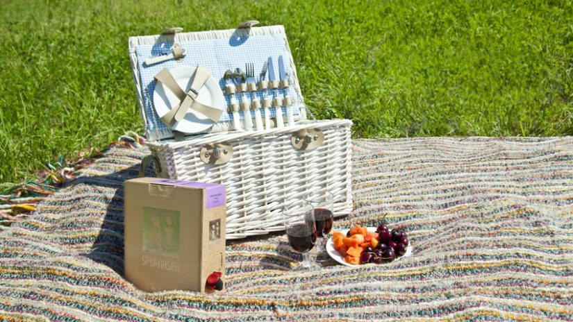 proutěný koš na piknik
