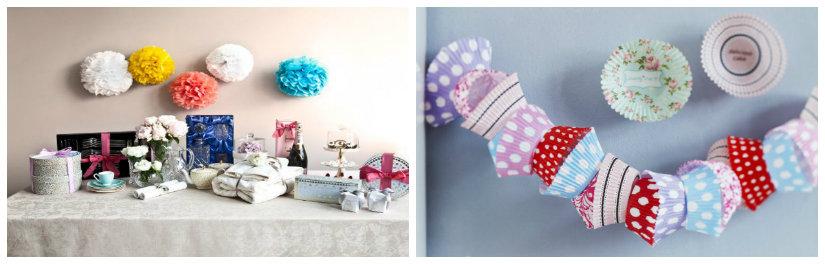 mesas dulces decoración con papel