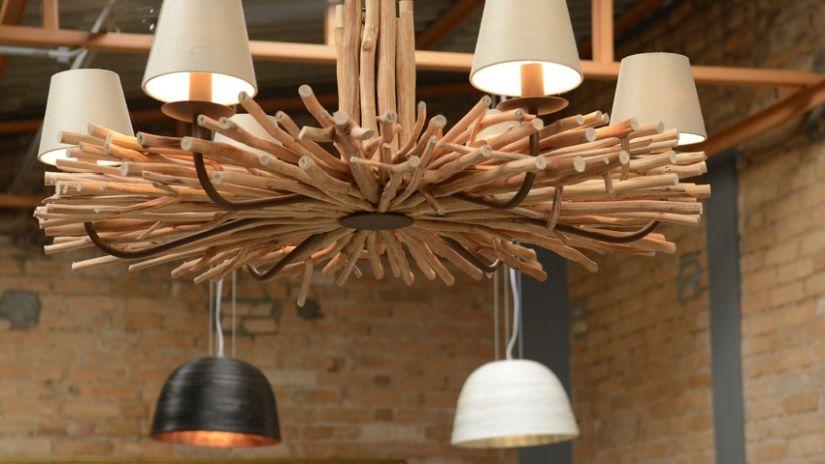 Lustre en  bois rustique