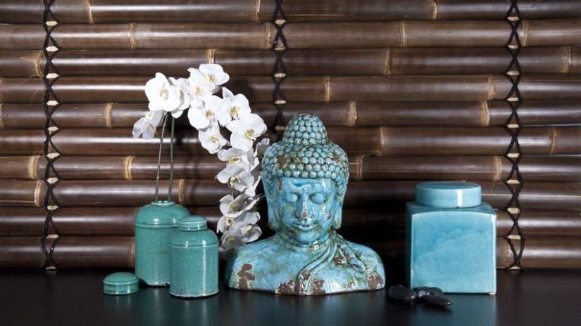 Statuette déco de bouddha turquoise