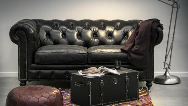Canapé en cuir de style usine