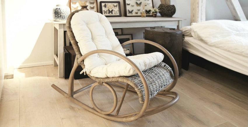 Sedia a dondolo vimini per bambini design casa creativa - Cuscino per sedia a dondolo ...