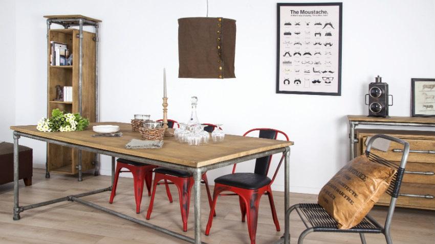Dalani tavolo allungabile in legno grezzo essenza di stile for Sedie in ferro e legno