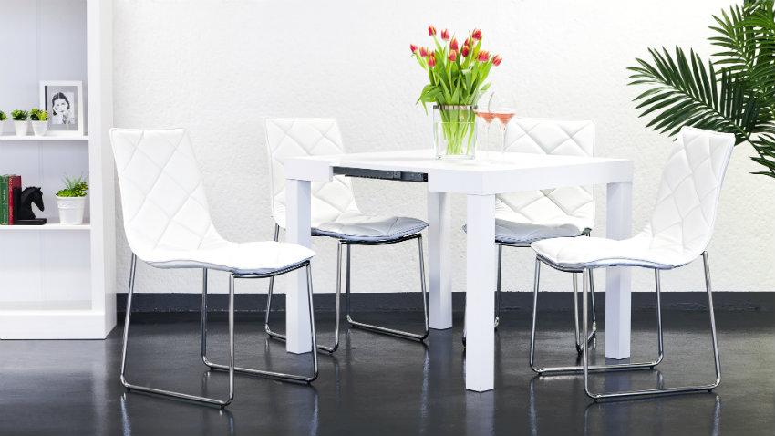 Stijlvol je eettafel hoogglans wit ruime korting westwing - Stoelen voor glazen tafel ...