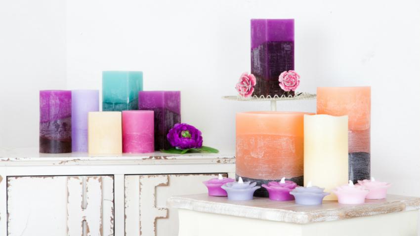 Shop hier je paarse kaarsen m t korting westwing - Aardewerk rode keuken ...