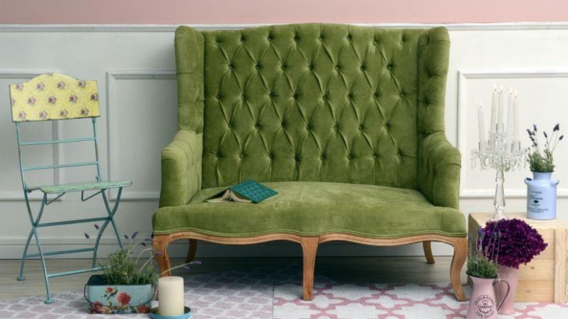Zelená vintage sedačka pre dvoch