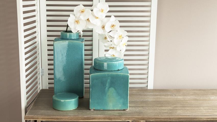 Lakované tyrkysové vázy