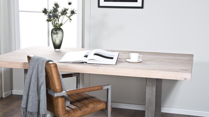 Kožená svetlo hnedá stolička