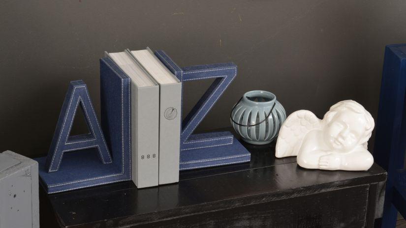 Moderná modrá zarážka na knihy