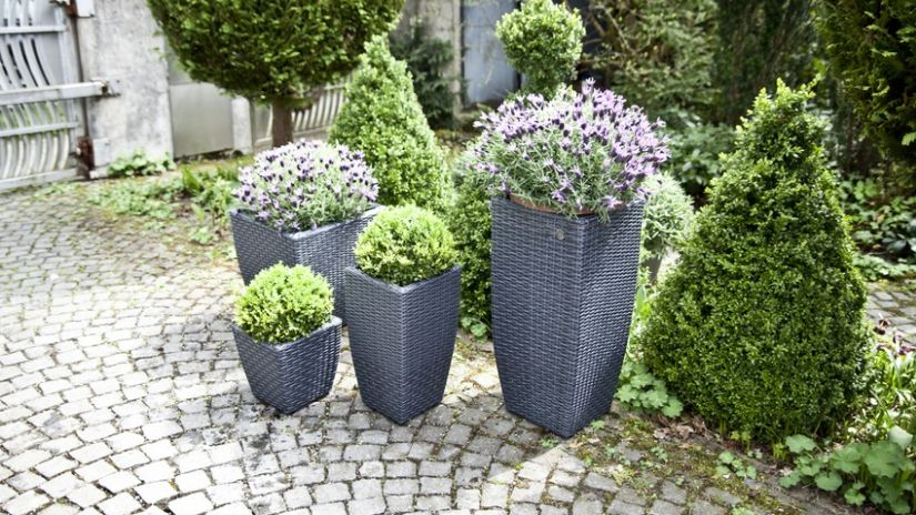 Vysoké záhradné kvetináče