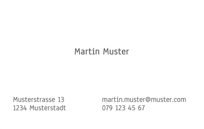 Visitenkarte 1 Seitig 85 X 54 Mm