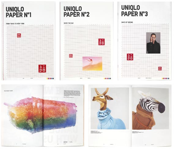 Uniqlo's magazine - Devised and art directed by Markus  Kiersztan of mp creative in New York, Paper is Uniqlo's in-house bi-annual magazine. Contributors include photographers Ben Pogue  and William Selden (with puppets by Gary Card), illustrators Paul Davis  and Bernd Schifferdecker, and designer Damien Poulain , photograph by Joe Lacey