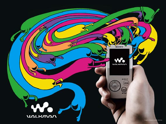 "Vice magazine, Sony, illustration - ""For the launch of the new Sony Walkman mp3 player, Vice UK asked me to draw a picture to show how happy it is,"" explains Moross"