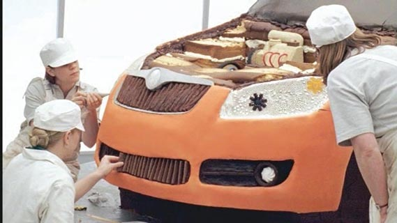 Skoda spot - Palmer oversaw an entire car, including the engine, created out of cake in this spot for Skoda. Agency: Fallon.