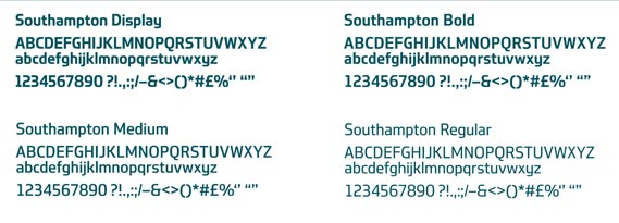 Typography - The bespoke typeface Southampton Display and a series of pictograms, created for the Legible City project by Dalton Maag