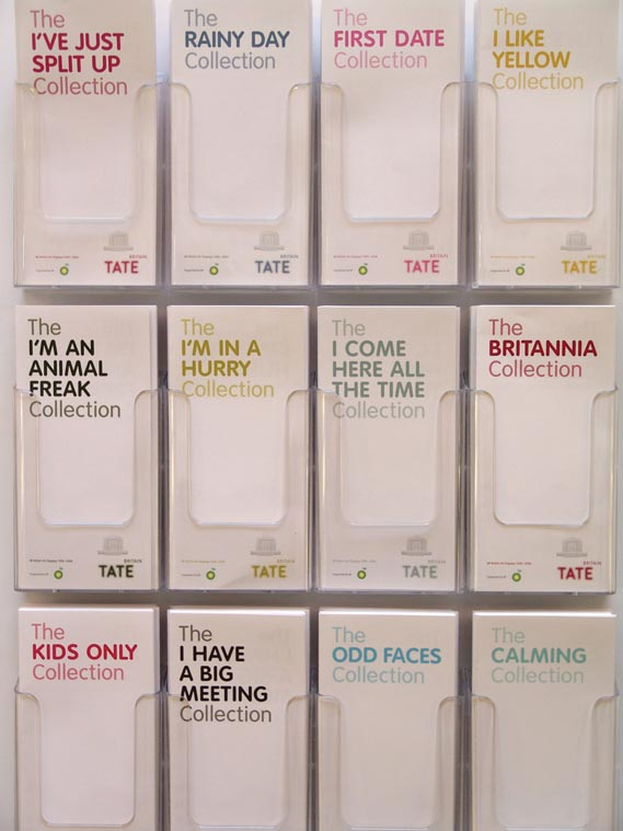Tate leaflets - Fallon created this series of leaflets offering alter­native guides around the collec­tion at Tate Britain, depending on your mood. Creatives: Selena McKenzie, Toby Moore