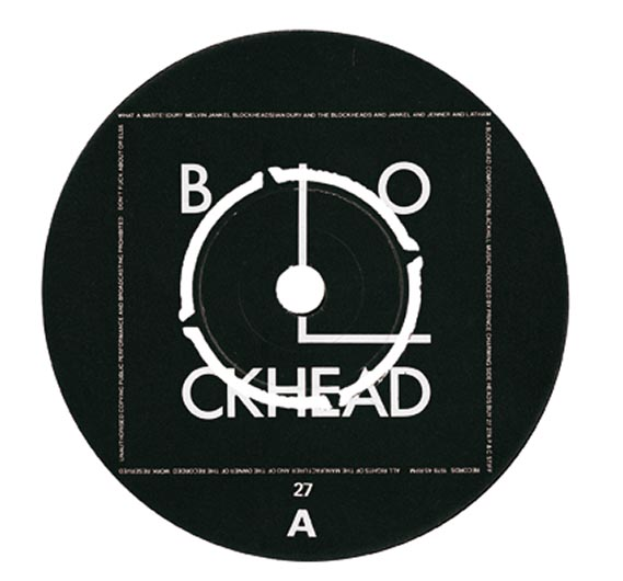 Ian Dury and the Blockheads logo - Barney Bubbles' famous Bauhaus-inspired logo for Ian Dury and the Blockheads, which first appeared on the band's 1978 single, What a Waste (label shown).