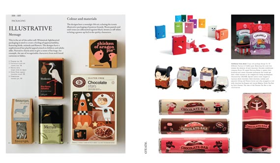 "Spread focusing on ""the art of the softer sell"" - Whimsical packaging design used to ""create a feeling of approachability"". The tea, rice, cereal and pie packaging is all from the UK."