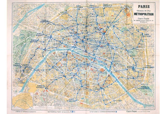 A 1930 topographic station wall map of the Paris Metro system - © RATP