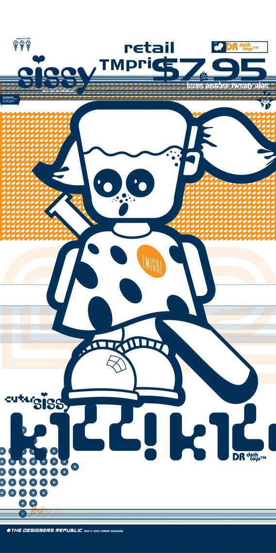 Cuter DR Sissy™ - Cuter DR Sissy™ Kill! Kill! 2m × 1m banner, adapted from Emigre magazine front cover for Brain Aided Design™ show in Barcelona, (1994–2002)