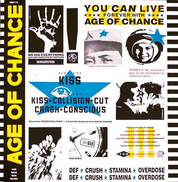"Back cover of Age of Chance's limited edition 12"" Kiss ep - fon Records (1987)"