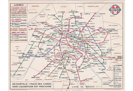 A 1936 version of the 'Lagoute' pocket map of the Paris Metro with coloured lines, little topography and some straightening - © ratp