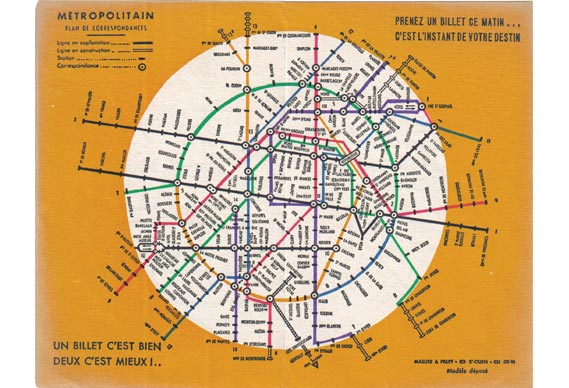 Some rather excessive geometry on this Kandinsky-esque Paris Metro pocket map, issued by a private publisher in 1939 - © All rights reserved