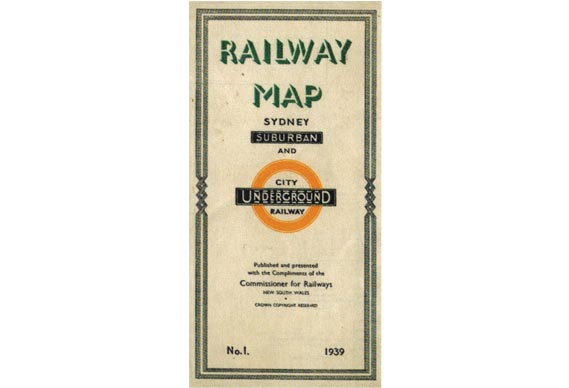 Sydney's mainline rail system was depicted in a 1939 card folder (cover shown) and bore a striking resemblance to Beck's map (Sydney map shown opposite, bottom left) as well as even borrowing the famous London Underground roundel - By kind permission London Transport Museum.